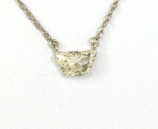 Other Estate 14k White Gold .95ct Butterfly Cut Diamond Solitaire Necklace Image 1