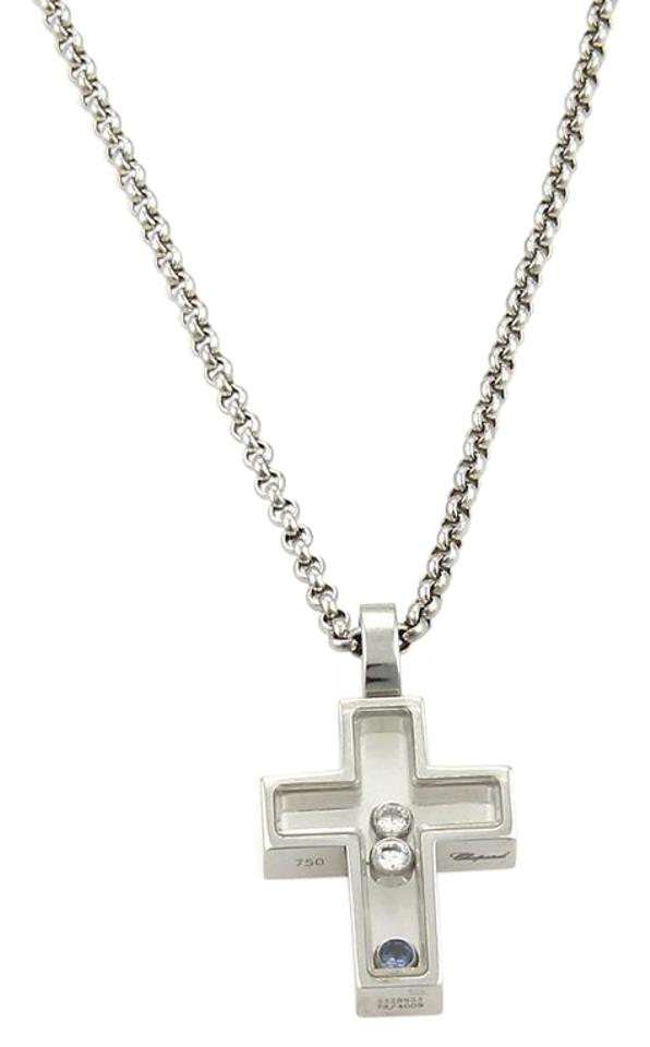 Chopard white gold happy diamonds sapphire 18k cross pendant chopard happy diamonds sapphire 18k white gold cross pendant necklace aloadofball Image collections