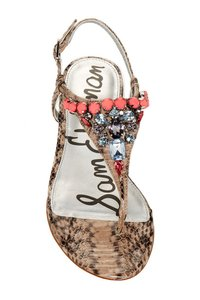 Sam Edelman Snakeskin Embellished Leather melon Sandals