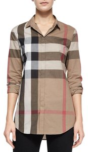 Burberry Button Down Shirt Taupe Brown Black