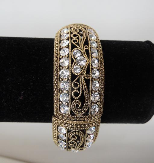 Real Collectibles by Adrienne Real Collectibles Goldtone Stretch Crystal Bangle Bracelet size 7.5