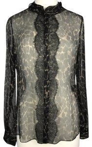 Elie Tahari Sheer Leopard Print Lace Top