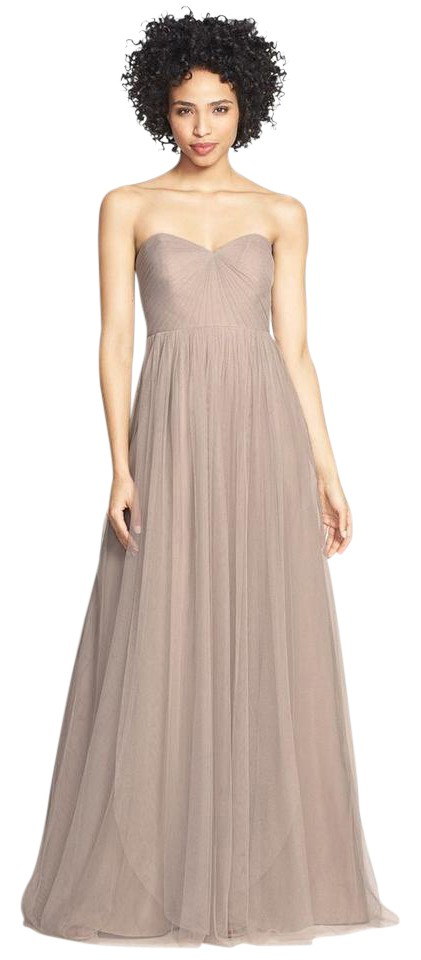 Jenny Yoo Mink Grey Tulle Annabelle Bridesmaid Mob Dress Size 10 M