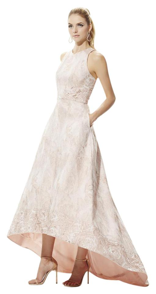Theia Rose Gold High Low Jacquard Ball Gown Long Formal Dress Size