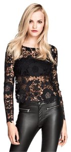 H&M Evening Night Out Date Night Lace Lace Top BLACK