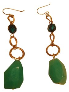 Gold And Turquoise Colored Stone Earrings