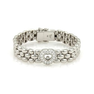 Chopard Happy Diamond Heart 18k White Gold 3 Row Panther Link Bracelet