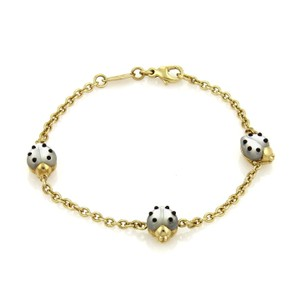 Chopard Mother of Pearl & Onyx 3 Ladybug Charms Chain Bracelet