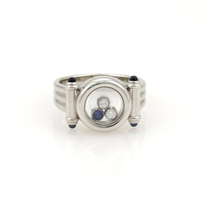 Chopard Happy Diamond 18k White Gold Sapphire Floating Circle Ring Size 6