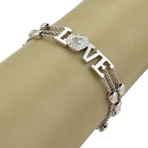 Chopard Happy Diamond LOVE 18k White Gold Triple Row Hearts Chain Bracelet