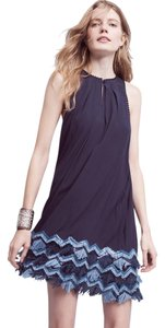 Anthropologie short dress Navy Embroidered Good In Comfortable Great Material on Tradesy