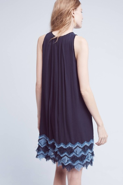 Anthropologie short dress Navy Embroidered Shirtdress Good In Person Comfortable Great Material on Tradesy Image 1