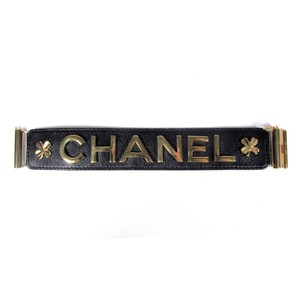 Chanel BRACELET - VINTAGE BLACK LEATHER GOLD CLOVER LUCKY CHARM CUFF BANGLE