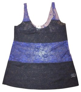 Free People Intimately Sheer See Through Stretchy Top BLACK BLUE