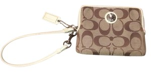 Coach Wristlet in Cream and Brown