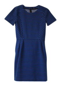 Madewell Stripes Short Sleeve Navy Stretchy Flattering Dress