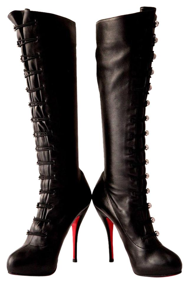 171ce6970 Christian Louboutin Thigh High Knee High Pump Black Silver Buttons Boots  Image 0 ...