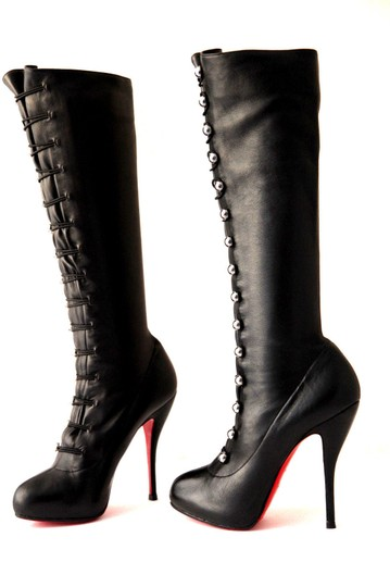 Christian Louboutin Thigh High Knee High Pump Black Silver Buttons Boots Image 3