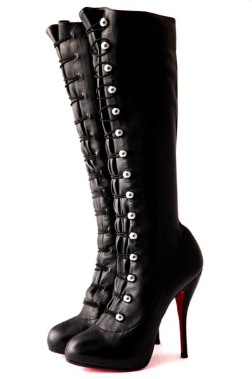 Christian Louboutin Thigh High Knee High Pump Black Silver Buttons Boots Image 4