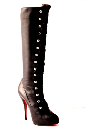 Christian Louboutin Thigh High Knee High Pump Black Silver Buttons Boots Image 5