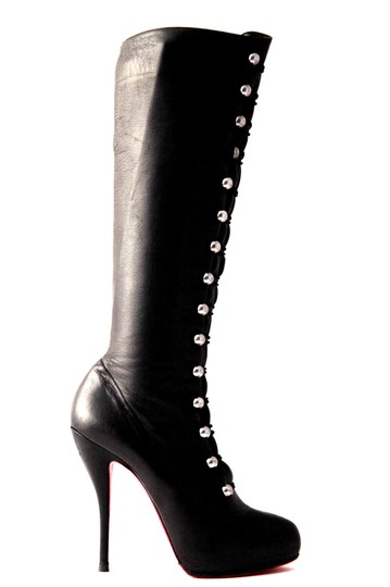 Christian Louboutin Thigh High Knee High Pump Black Silver Buttons Boots Image 6