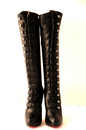 Christian Louboutin Thigh High Knee High Pump Black Silver Buttons Boots Image 7