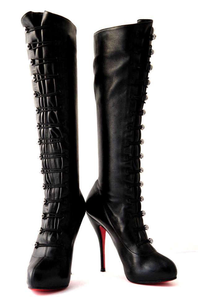 c739296647d Christian Louboutin Black Silver Buttons Fifre 40.5it Corset Leather  Platform Knee High Heel Red Sole Lady Boots/Booties Size EU 40.5 (Approx.  US ...