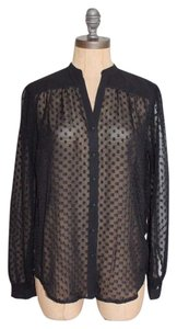 Ann Taylor Dotted Sheer Evening Career Top BLACK