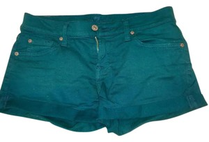 7 For All Mankind Denim Cuffed Shorts Turquoise