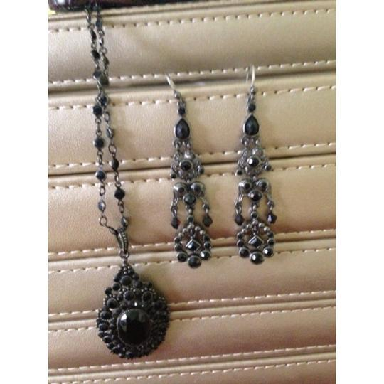 Other Black Stone Necklace & Earrings