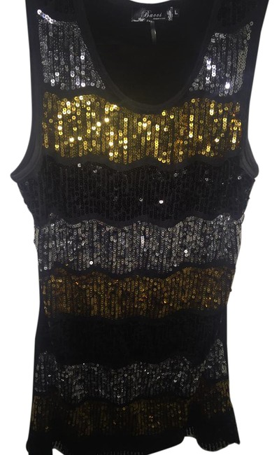 Item - Black Gold and Silver Sexy Sequin Mini. Short Night Out Dress Size 12 (L)