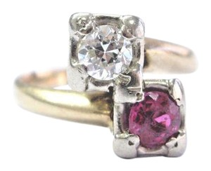 Other Vintage Old European Cut Diamond & Ruby Yellow Gold TWIN Ring 14KT .73