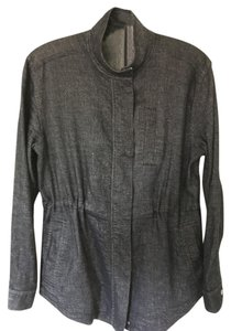 Eileen Fisher Linen Denim Anorak Lightweight Versatile Black/Gray Jacket