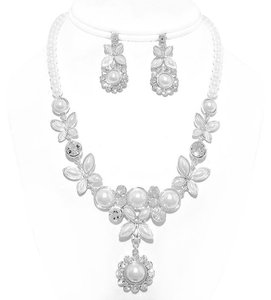 Bridal Wedding Evening Floral Crystal Accented Pearl Necklace Set
