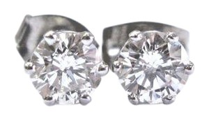 Other Fine Round Cut Diamond Stud Earrings 1.00Ct PUSH BACK White Gold H-SI1