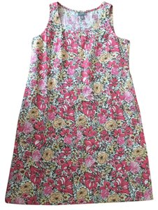 J. Jill short dress multi Linen Floral Print Sleeveless on Tradesy