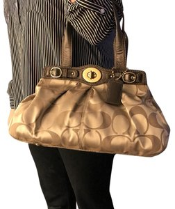 Coach Satchel in Beige with dark brown leather arm straps