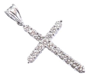 Other Fine Round Cut Diamond White Gold Cross Pendant 16-Stones 1.00Ct