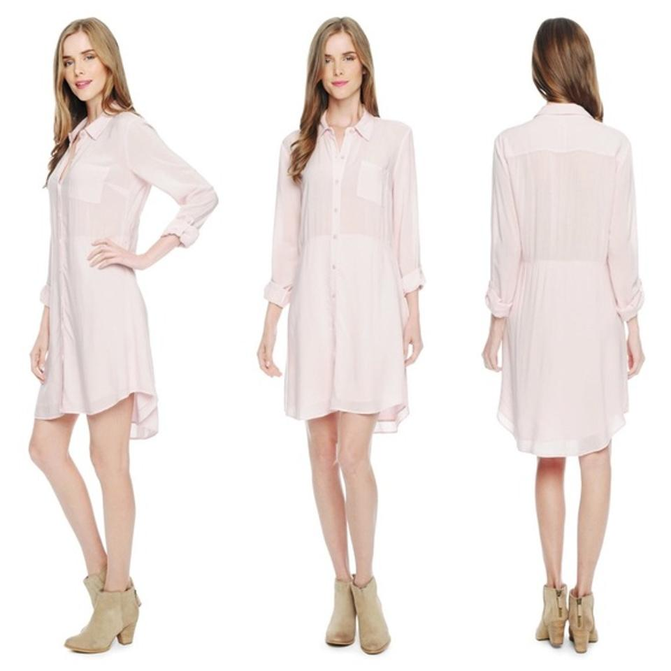 ebf245910f9f Splendid Pale Pink Gauzy Button-front Long Sleeve Shirtdress Short Casual  Dress