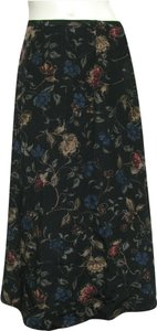 Talbots New Nwt 100% Silk Black Floral S 6p Petite 6 Blue Green Red Multi Long Maxi Flare Skirt black multicolor