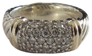 David Yurman Metro Collection - Pave' Metro SS/18k Diamond Ring; Size 6.75