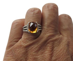David Yurman Petite Wheaton Citrine/Pave' Diamond Ring, Size 6.75
