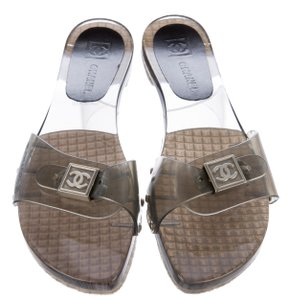 Chanel Jelly Pvc Interlocking Cc Metallic Hardware Silver, Grey, Clear Sandals