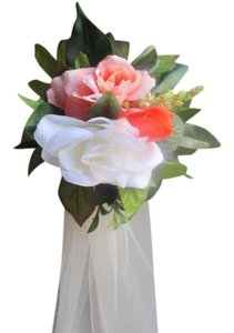Coral Ivory Greenery 10 Aisle/Pew Ceremony Decoration
