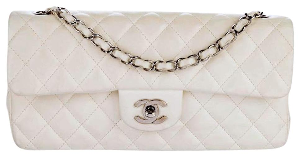 162a3a4a4cf Chanel East West Classic E W Flap Quilted Cc Logo Medium Ivory White  Lambskin Leather Shoulder Bag