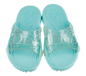 Dior Jelly Perforated Diorissimo Logo Pvc Blue Sandals