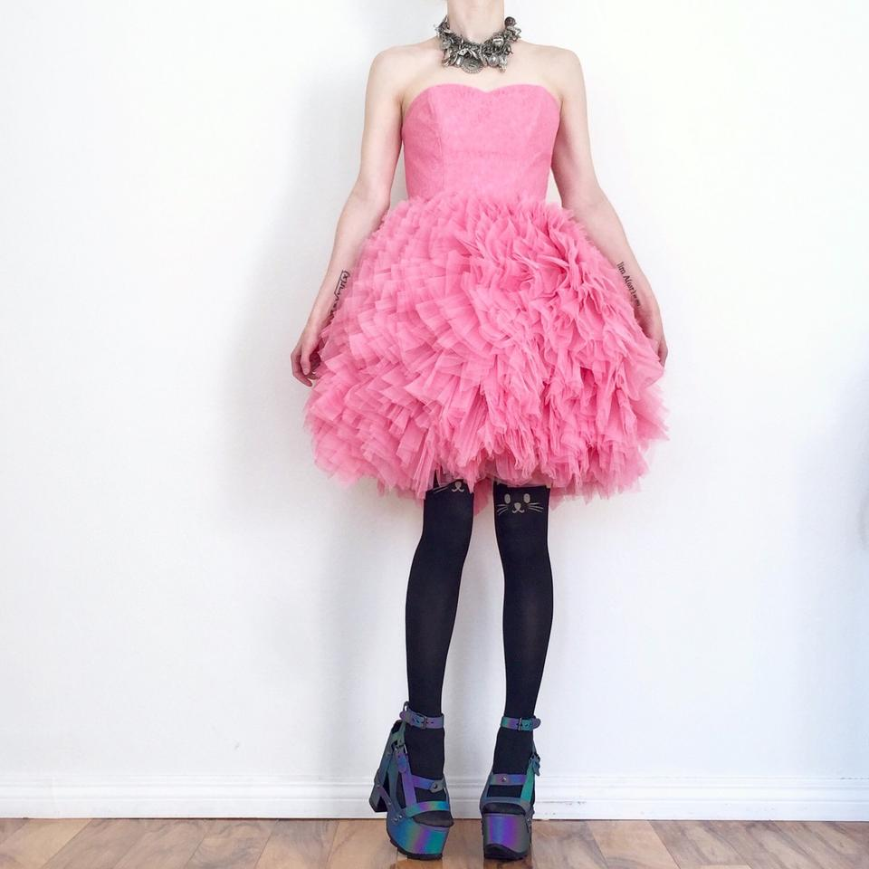 Betsey Johnson Cotton Candy Pink Tallulah Strapless Tulle Mid-length ...