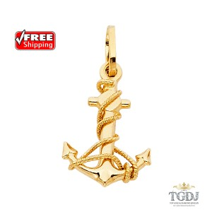 Top Gold & Diamond Jewelry Anchor Pendant,14K Yellow gold Anchor Pendant Height:16 MM Width14:MM
