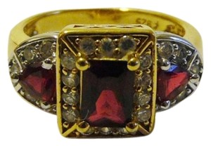Technibond Technibond 3 Stone Created Ruby Ring 8