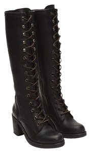 Frye Lace-up Chunky Lug Sole Leather Knee High Black Boots